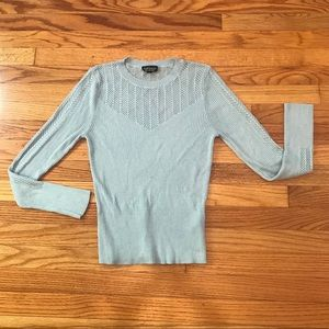 TopShop Baby Blue Knit Crew Neck Sweater